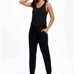 Old Navy Black Jersey drawstring waist Jumpsuit M